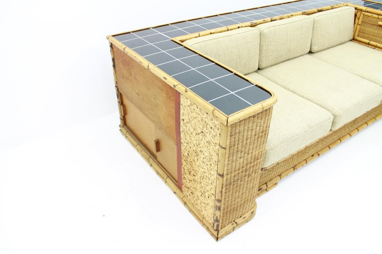 Rare Art Deco Bamboo & Rattan Daybed Sofa Room Divider by Arco Germany 1940s For Sale 5