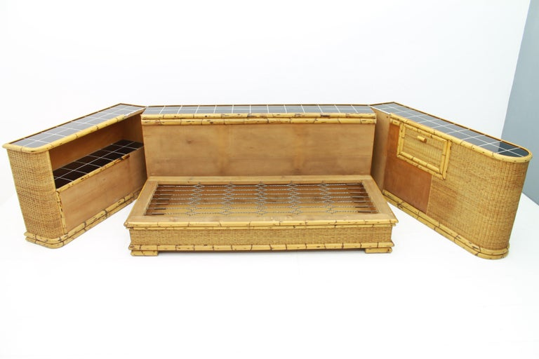 Rare Art Deco Bamboo & Rattan Daybed Sofa Room Divider by Arco Germany 1940s For Sale 10