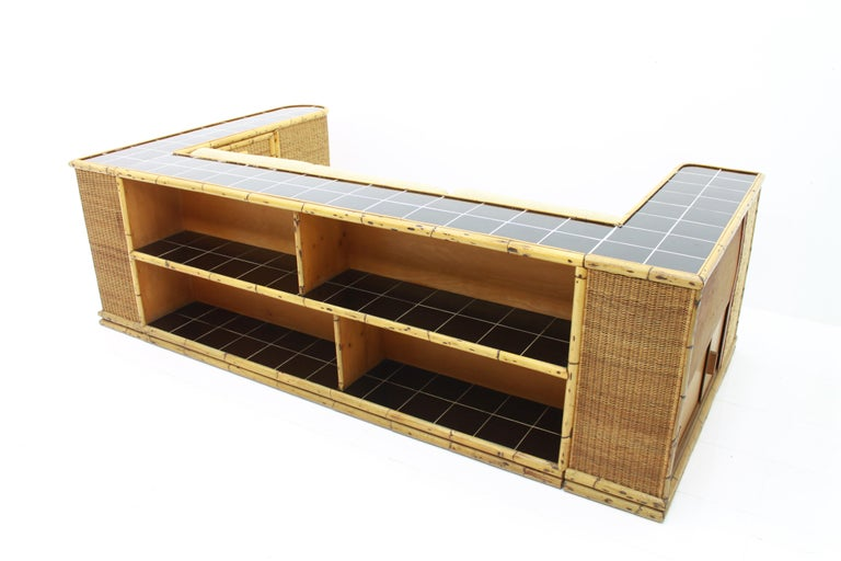 Rare Art Deco Bamboo & Rattan Daybed Sofa Room Divider by Arco Germany 1940s For Sale 12