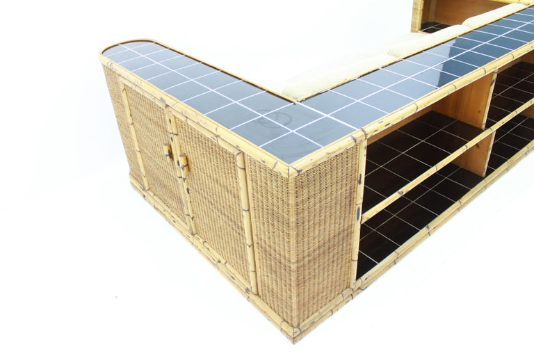 Rare Art Deco Bamboo & Rattan Daybed Sofa Room Divider by Arco Germany 1940s For Sale 13