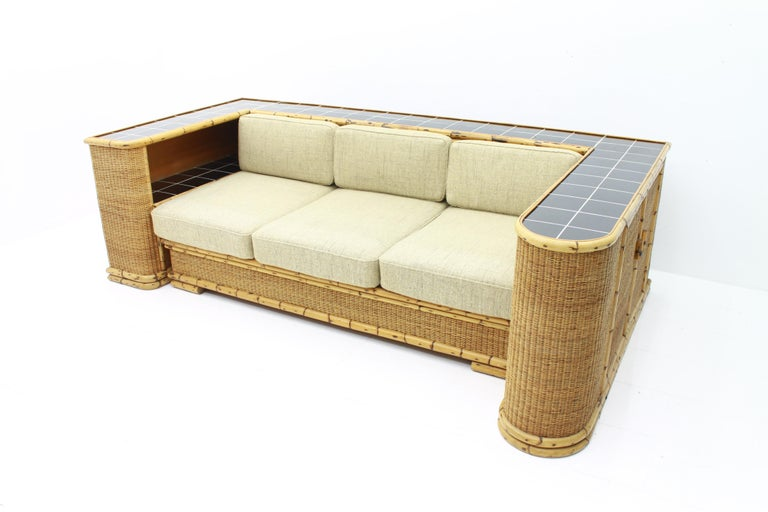 Very rare Bamboo and Rattan Sofa, Room Divider from Arco 1940s.