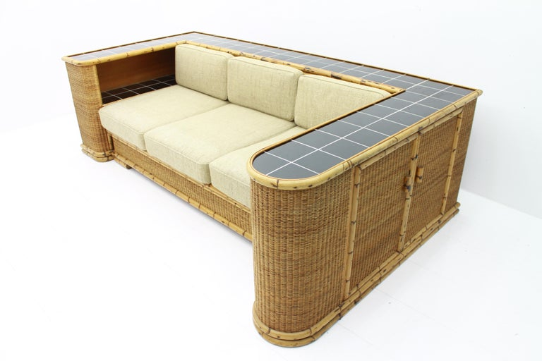 Rare Art Deco Bamboo & Rattan Daybed Sofa Room Divider by Arco Germany 1940s In Good Condition For Sale In Frankfurt / Dreieich, DE