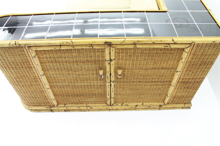 Ceramic Rare Art Deco Bamboo & Rattan Daybed Sofa Room Divider by Arco Germany 1940s For Sale