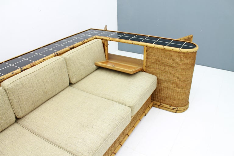 Rare Art Deco Bamboo & Rattan Daybed Sofa Room Divider by Arco Germany 1940s For Sale 2