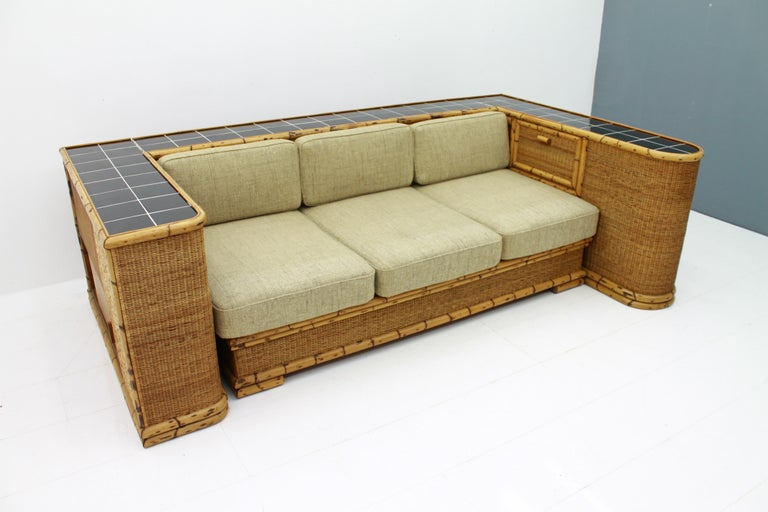 Rare Art Deco Bamboo & Rattan Daybed Sofa Room Divider by Arco Germany 1940s For Sale 3