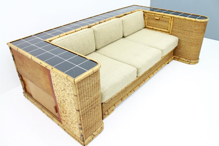 Rare Art Deco Bamboo & Rattan Daybed Sofa Room Divider by Arco Germany 1940s For Sale 4