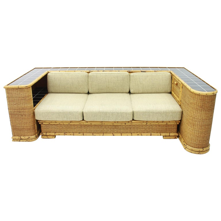 Rare Art Deco Bamboo & Rattan Daybed Sofa Room Divider by Arco Germany 1940s For Sale