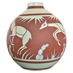 Rare Art Deco BFK Leon Delfant Deer Vase