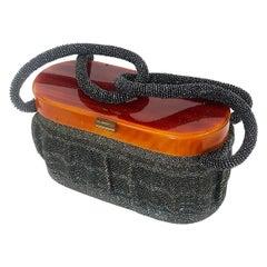 Rare Art Deco Black beaded handbag purse with Lucite top