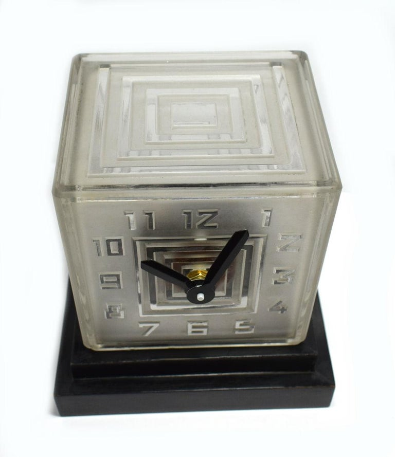 French Rare Art Deco Bulle Glass Clock, Signed  P.M.Favre, 1930s For Sale