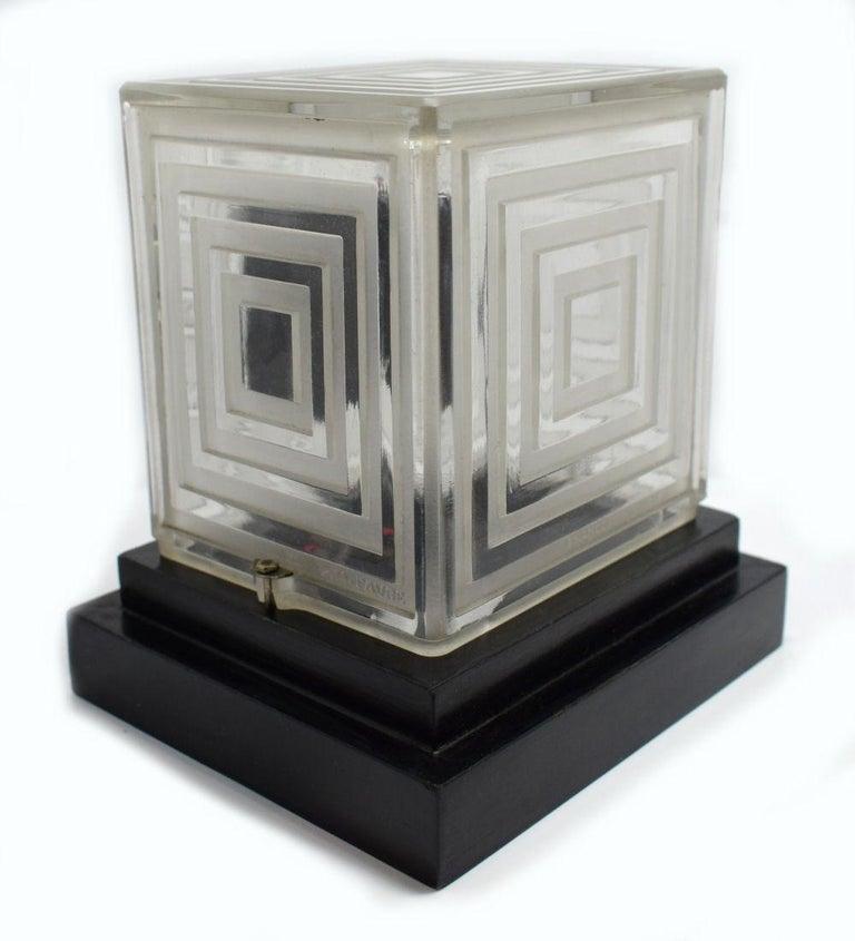 Ebonized Rare Art Deco Bulle Glass Clock, Signed  P.M.Favre, 1930s For Sale