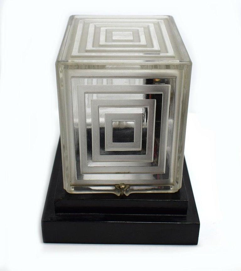 Rare Art Deco Bulle Glass Clock, Signed  P.M.Favre, 1930s For Sale 2