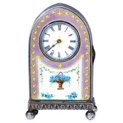 "Art Deco Cartier Enamel ""Forget Me Knot"" Motif Dome Clock"
