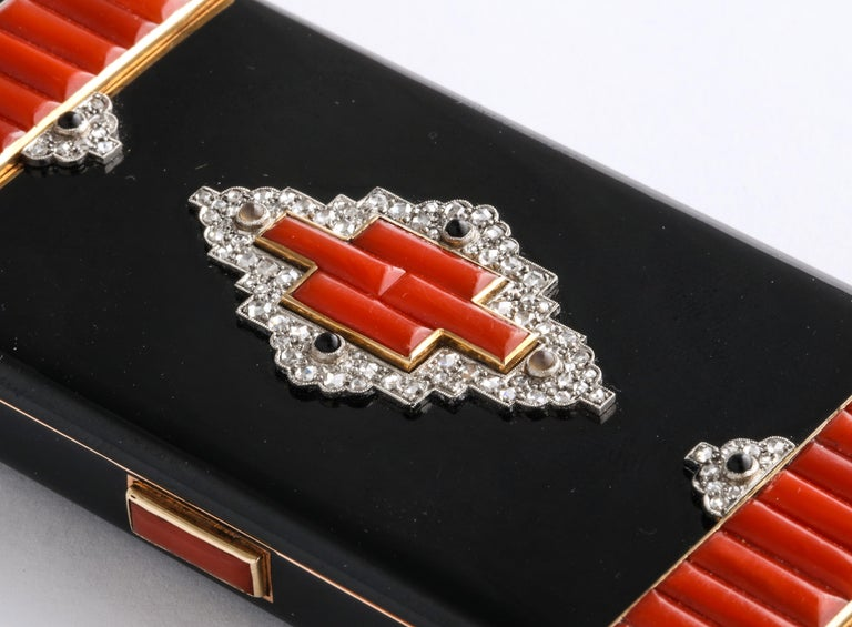 Rare Art Deco Cartier Vanity Case Compact Carved Coral Enamel Diamonds and Onyx For Sale 5