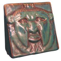 Rare Art Deco Ceramic Sculpture with Bearded Mask Motif