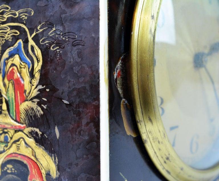 Rare Art Deco Chinoiserie Tortoise Shell Clock Retailed by Brook & Son, Edinburg For Sale 4