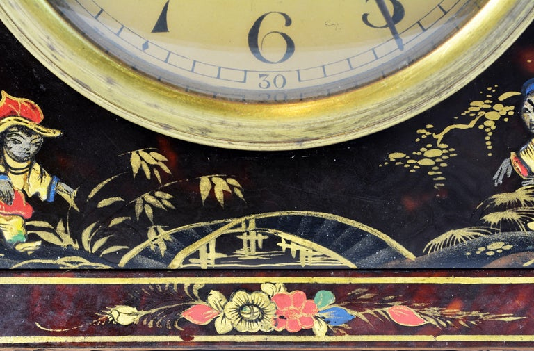 Rare Art Deco Chinoiserie Tortoise Shell Clock Retailed by Brook & Son, Edinburg For Sale 5