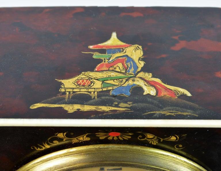 Rare Art Deco Chinoiserie Tortoise Shell Clock Retailed by Brook & Son, Edinburg For Sale 6