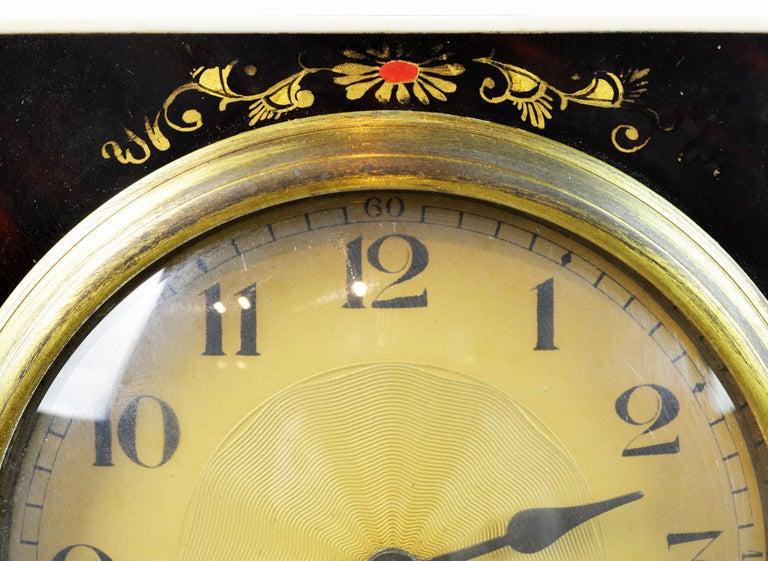 Rare Art Deco Chinoiserie Tortoise Shell Clock Retailed by Brook & Son, Edinburg For Sale 7