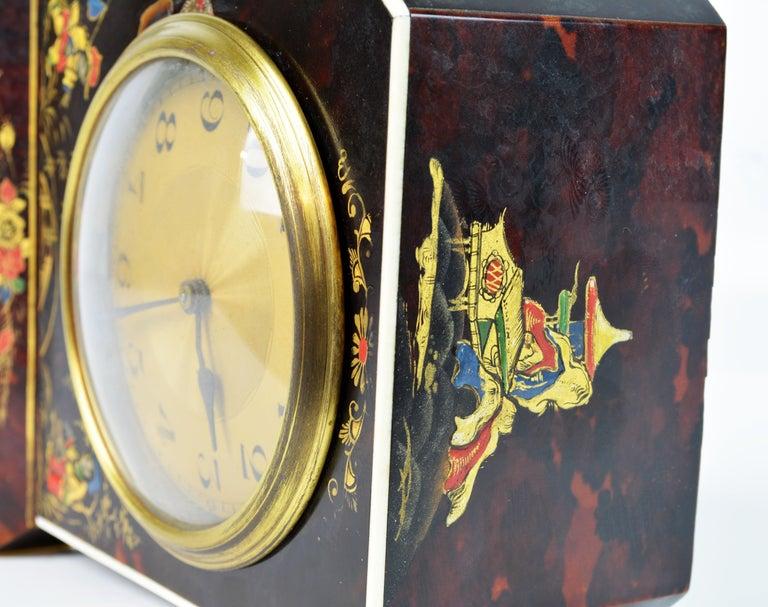 Rare Art Deco Chinoiserie Tortoise Shell Clock Retailed by Brook & Son, Edinburg For Sale 9