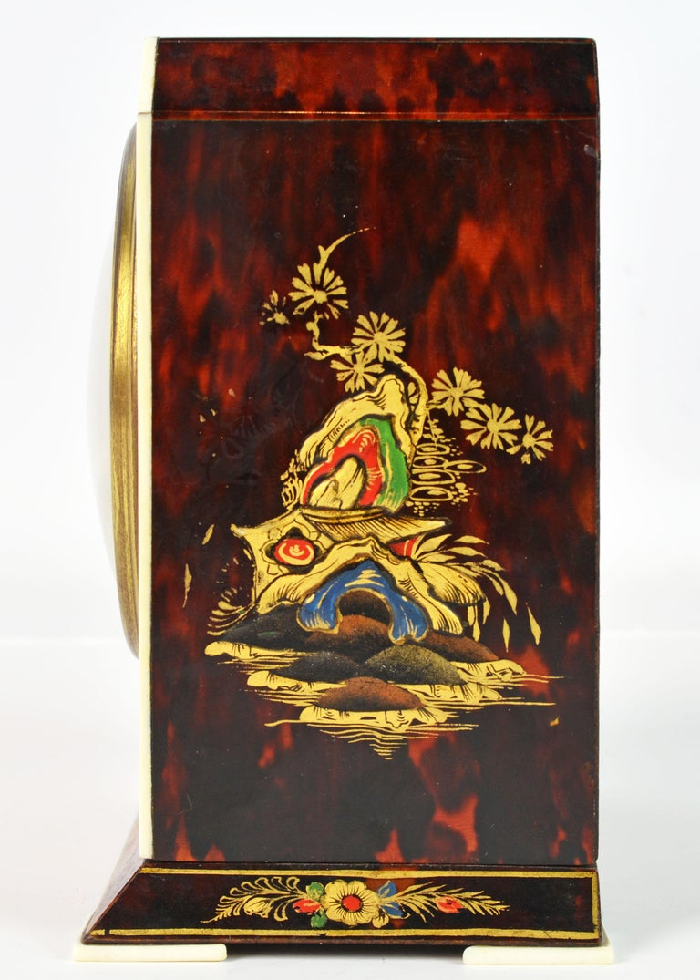 French Rare Art Deco Chinoiserie Tortoise Shell Clock Retailed by Brook & Son, Edinburg For Sale