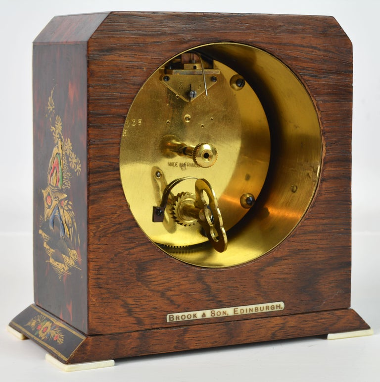 Rare Art Deco Chinoiserie Tortoise Shell Clock Retailed by Brook & Son, Edinburg In Good Condition For Sale In Ft. Lauderdale, FL