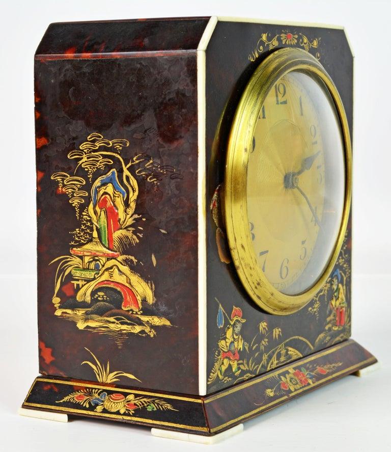 20th Century Rare Art Deco Chinoiserie Tortoise Shell Clock Retailed by Brook & Son, Edinburg For Sale