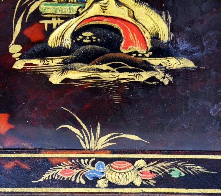 Rare Art Deco Chinoiserie Tortoise Shell Clock Retailed by Brook & Son, Edinburg For Sale 3
