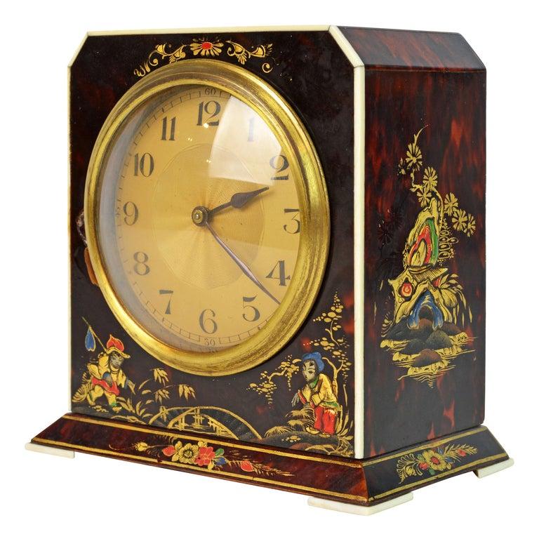 Rare Art Deco Chinoiserie Tortoise Shell Clock Retailed by Brook & Son, Edinburg For Sale