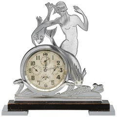 Rare Art Deco Chrome Mounted Swiss Moonphase Clock