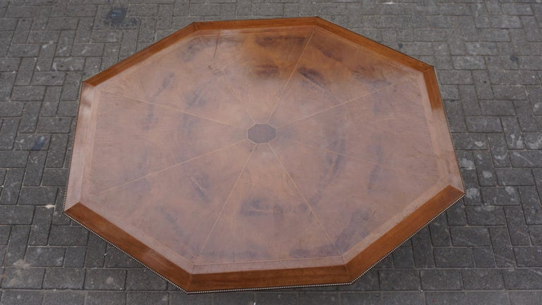 Rare Art Deco Dining or Conference Table in the Shape of an Octagonal Diamond For Sale 5