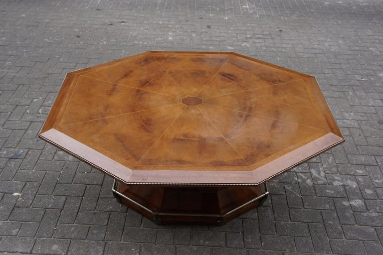 Rare Art Deco Dining or Conference Table in the Shape of an Octagonal Diamond For Sale 6