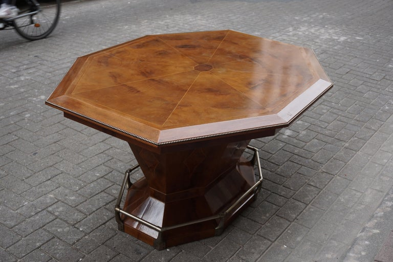 Rare Art Deco Dining or Conference Table in the Shape of an Octagonal Diamond For Sale 7