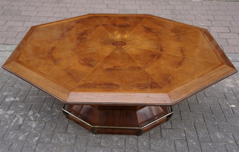 Rare Art Deco Dining or Conference Table in the Shape of an Octagonal Diamond For Sale 8