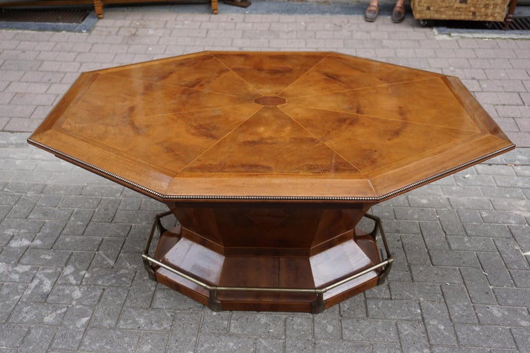 Rare Art Deco Dining or Conference Table in the Shape of an Octagonal Diamond For Sale 9