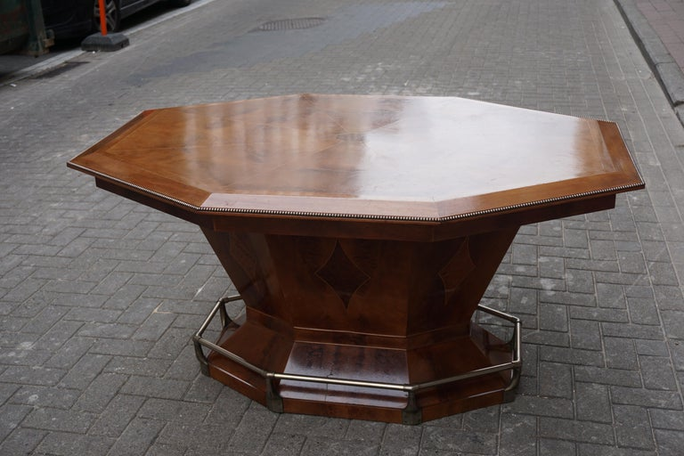 Rare Art Deco Dining or Conference Table in the Shape of an Octagonal Diamond For Sale 10