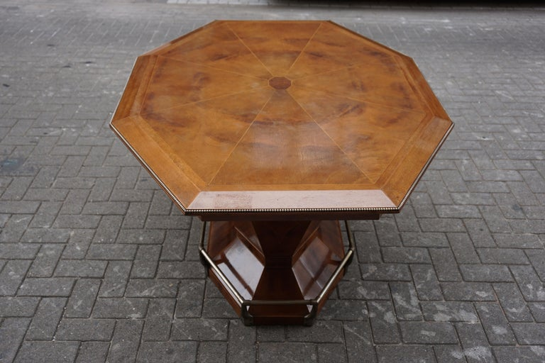Rare Art Deco Dining or Conference Table in the Shape of an Octagonal Diamond For Sale 11