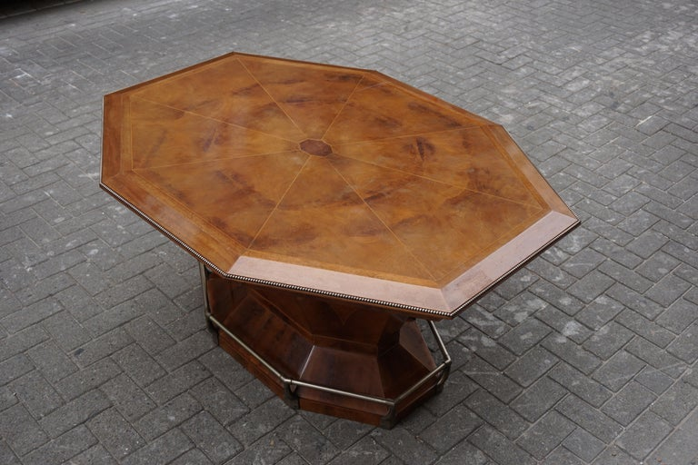 Rare Art Deco Dining or Conference Table in the Shape of an Octagonal Diamond For Sale 13