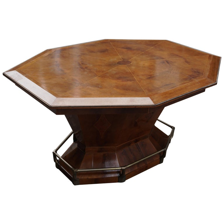 Beautiful Hollywood Regency Belgium Art Deco octagonal dining table or desk and writing table. Made in the 1920s for a prominent Jewish family from Antwerp working in the diamond industry. Antwerp, Belgium is the diamond capital of the world. Made