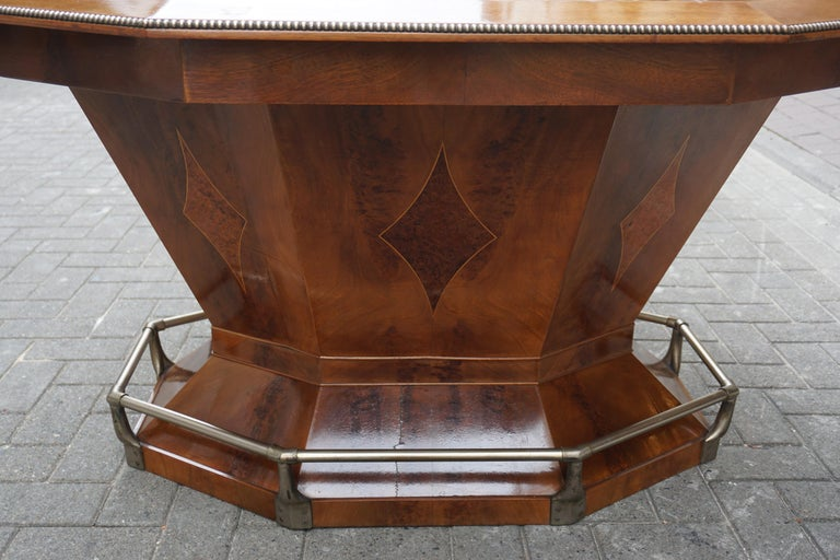 Rare Art Deco Dining or Conference Table in the Shape of an Octagonal Diamond For Sale 14