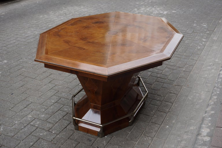 Belgian Rare Art Deco Dining or Conference Table in the Shape of an Octagonal Diamond For Sale