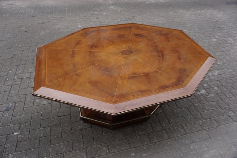 Belgian Rare Art Deco Dining/Conference Table in the Shape of an Octagonal Diamond For Sale