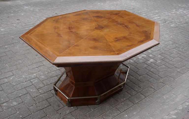 20th Century Rare Art Deco Dining or Conference Table in the Shape of an Octagonal Diamond For Sale