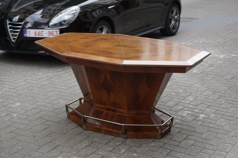 Metal Rare Art Deco Dining or Conference Table in the Shape of an Octagonal Diamond For Sale
