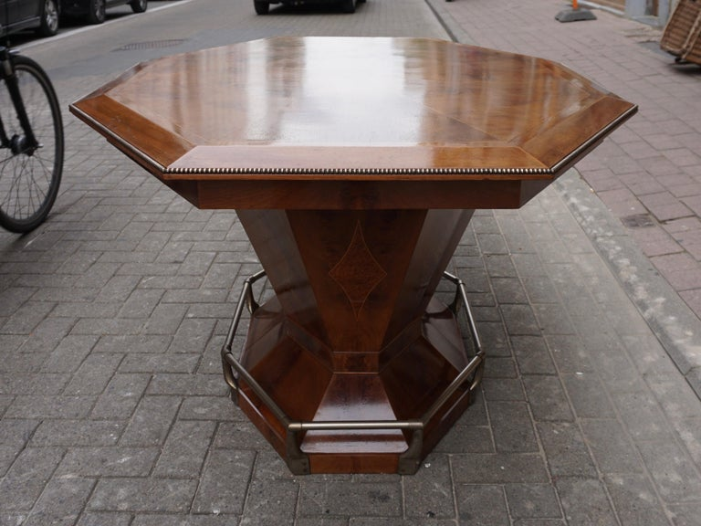 Metal Rare Art Deco Dining/Conference Table in the Shape of an Octagonal Diamond For Sale