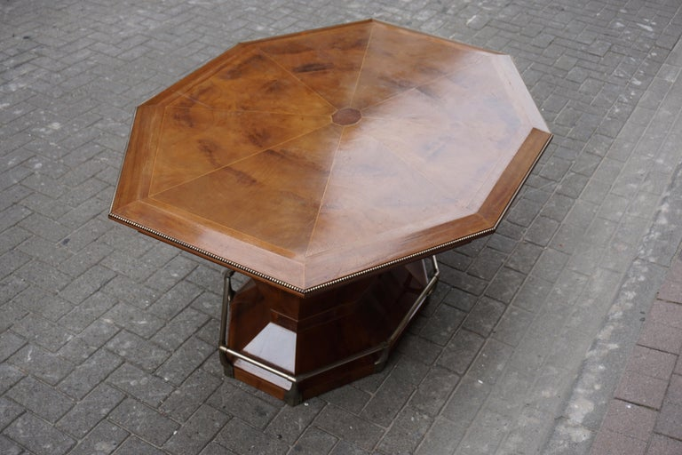 Rare Art Deco Dining or Conference Table in the Shape of an Octagonal Diamond For Sale 2