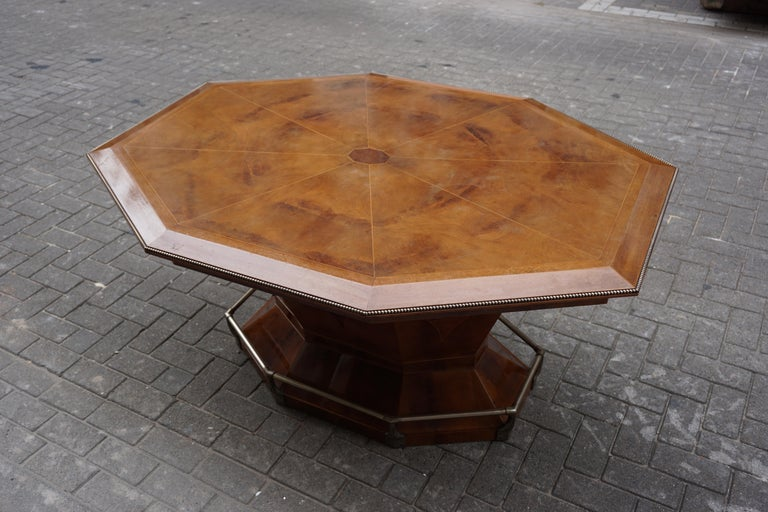 Rare Art Deco Dining or Conference Table in the Shape of an Octagonal Diamond For Sale 3