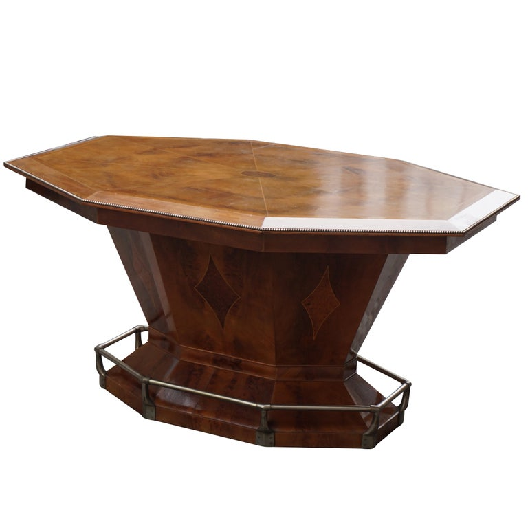 Rare Art Deco Dining Conference Table In The Shape Of An Octagonal Diamond For Sale At 1stdibs