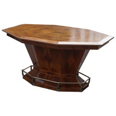 Rare Art Deco Dining or Conference Table in the Shape of an Octagonal Diamond