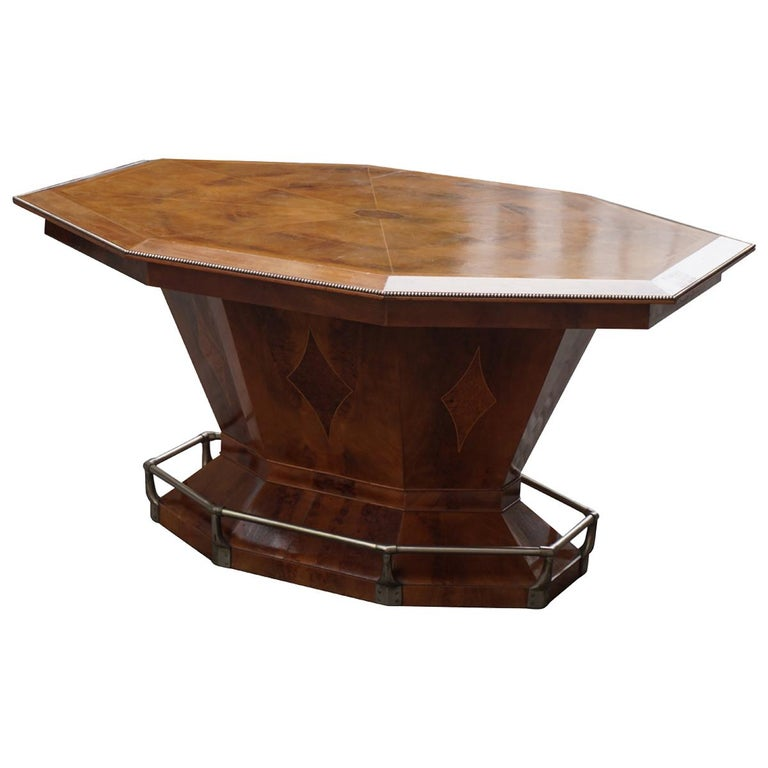 Rare Art Deco Dining or Conference Table in the Shape of an Octagonal Diamond For Sale